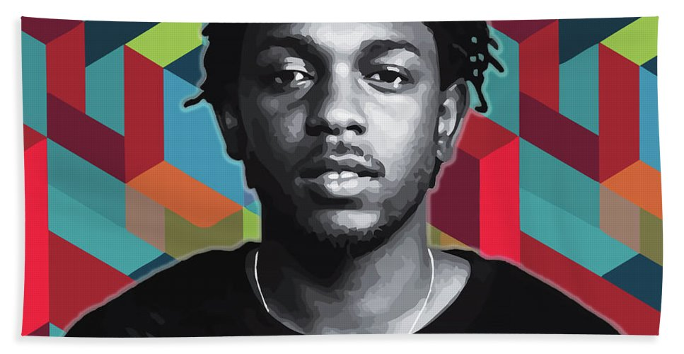 Kendrick Hand Towel featuring the painting Don't Kill My Vibe Kendrick by Carla B