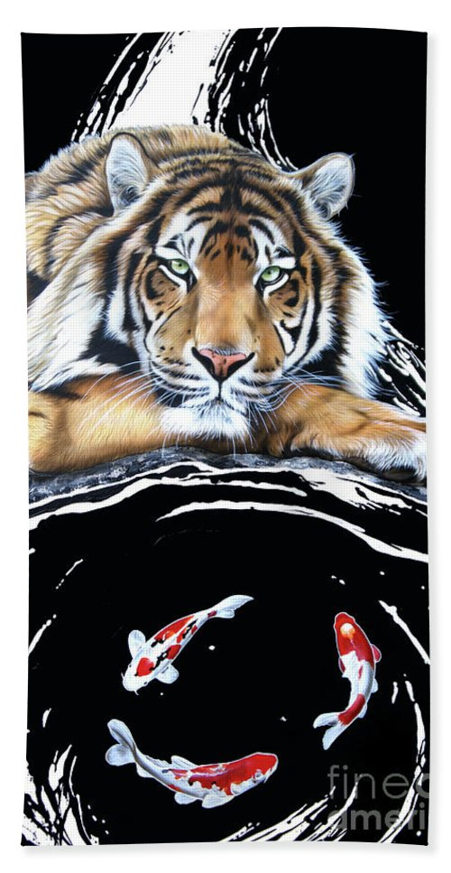 Tiger Hand Towel featuring the painting Dragon Seeker by Sandi Baker