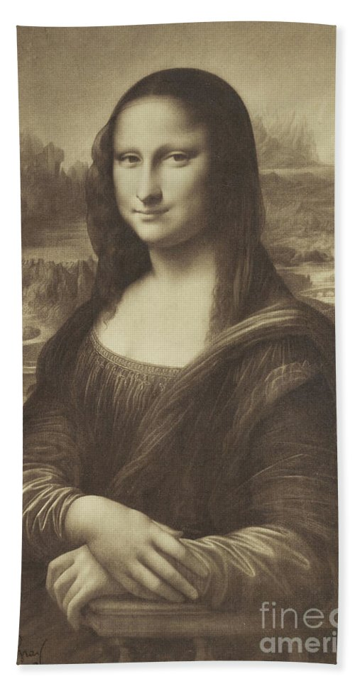 Mona Bath Towel featuring the photograph Drawing Of The Mona Lisa By Millet 1854-55 Albumen Silver Print by Gustave Le Gray