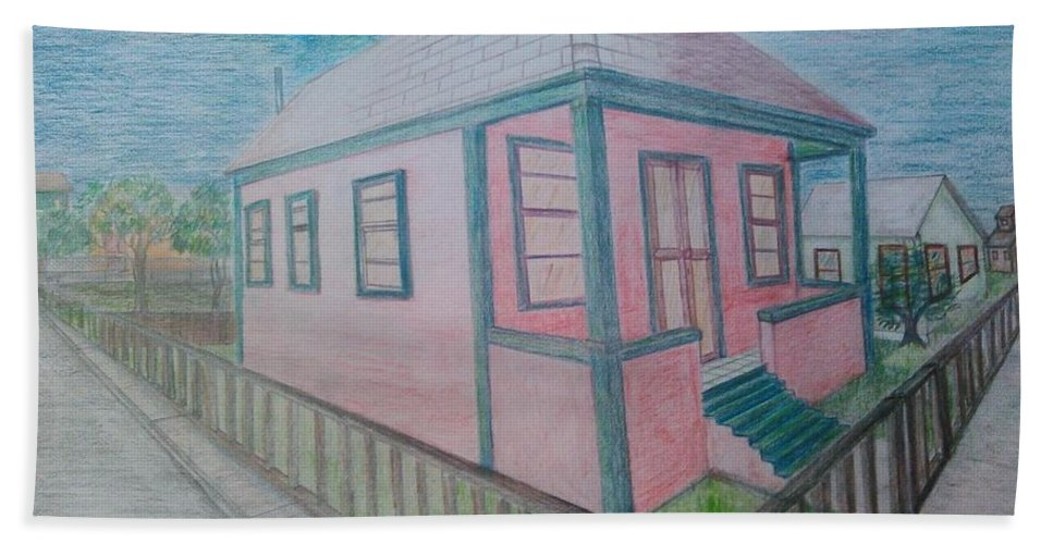 Drawing By Andrew Johnson Bath Towel featuring the drawing Dream Cottage by Andrew Johnson
