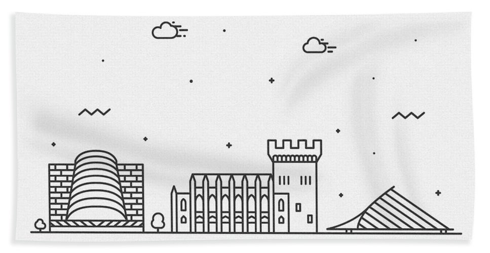 Dublin Bath Towel featuring the drawing Dublin Cityscape Travel Poster by Inspirowl Design