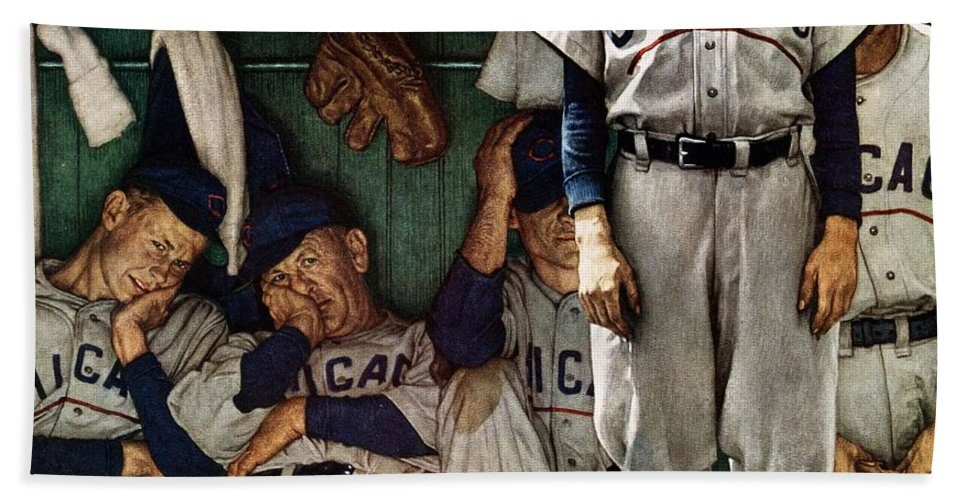 Baseball Bath Towel featuring the drawing dugout by Norman Rockwell