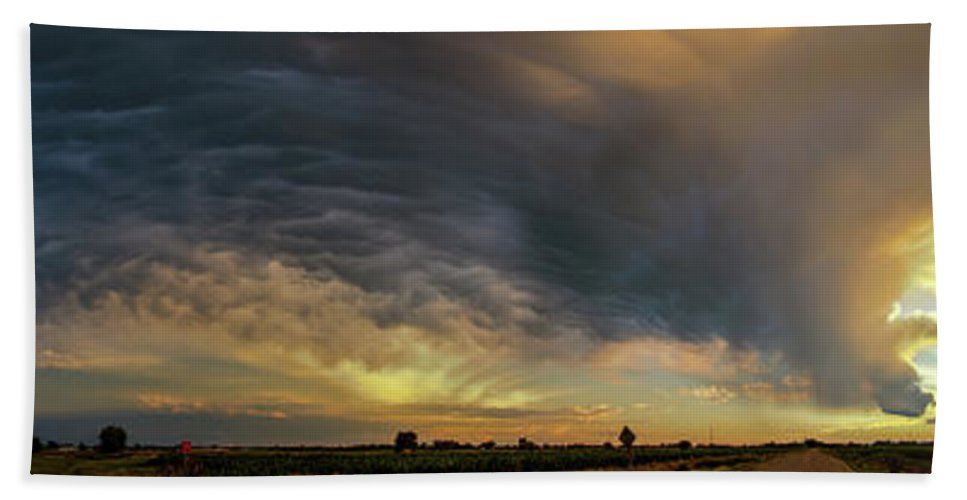 Nebraskasc Bath Sheet featuring the photograph Dying Thunderstorms At Sunset 010 by NebraskaSC