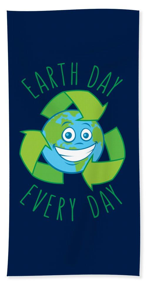 Green Bath Towel featuring the digital art Earth Day Every Day Recycle Cartoon by John Schwegel