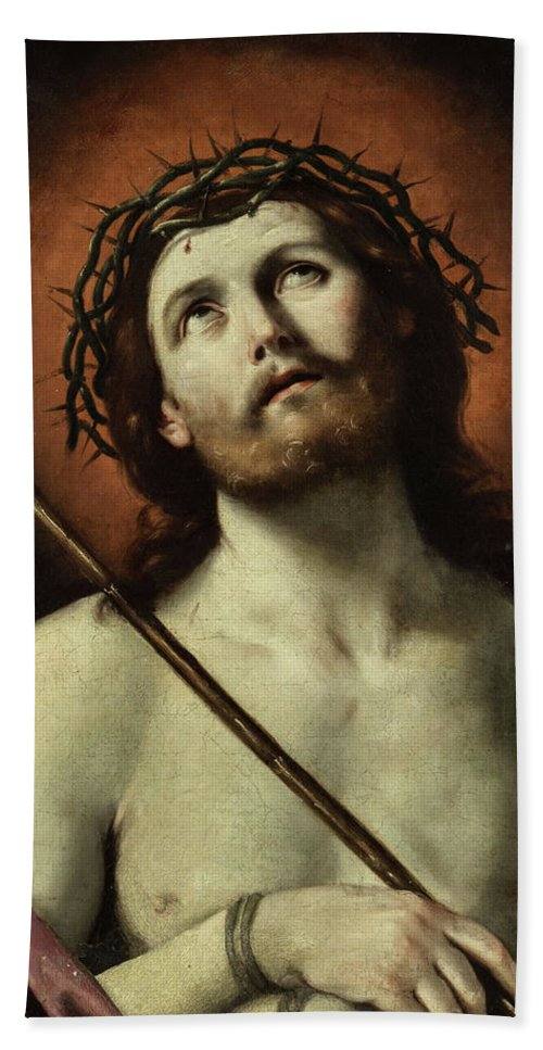 Guido Reni Hand Towel featuring the painting Ecce Homo, 1640 by Guido Reni