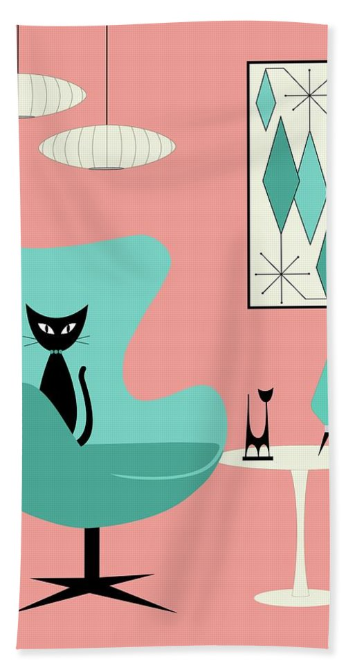Retro Bath Towel featuring the digital art Egg Chair in Pink Room by Donna Mibus
