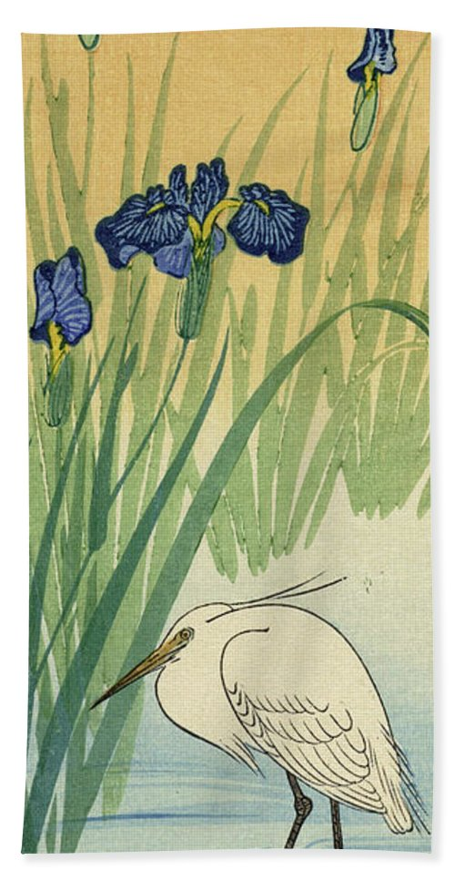 Egret Bath Towel featuring the painting Egret, 1936 by Ohara Koson