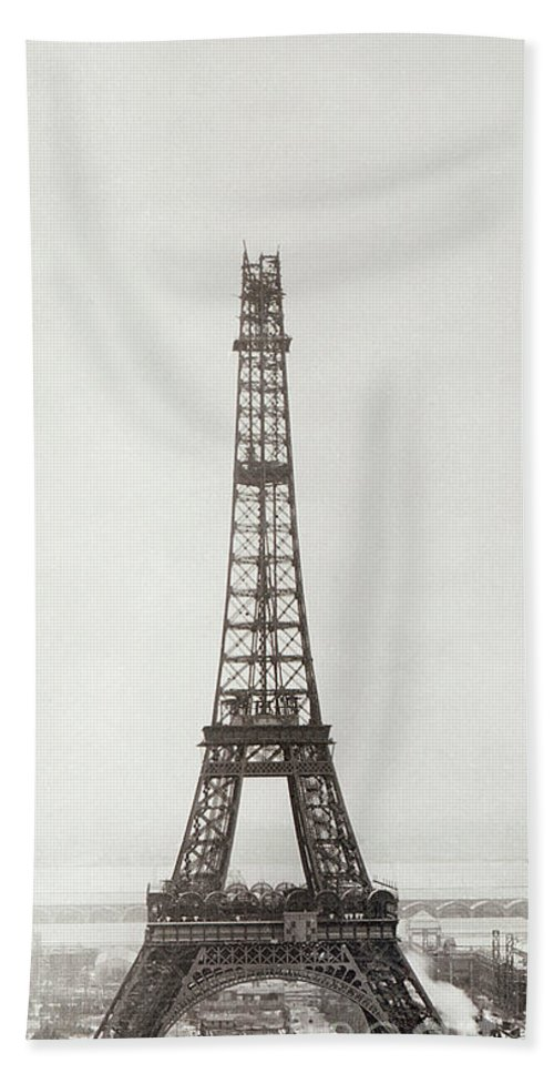 Eiffel Tower Hand Towel featuring the photograph Eiffel Tower, Paris, 12th February And 12th March 1889 by French School