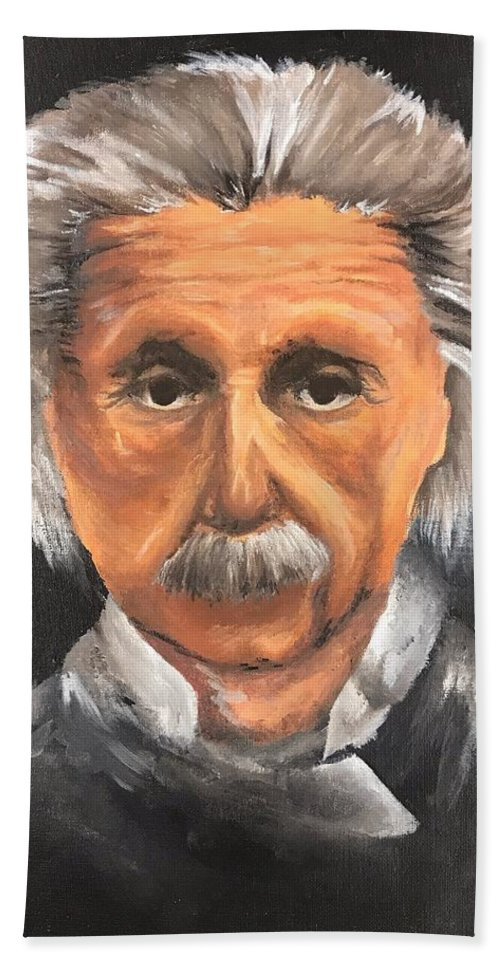Albert Bath Towel featuring the painting Einstein by Jacqui Olivia