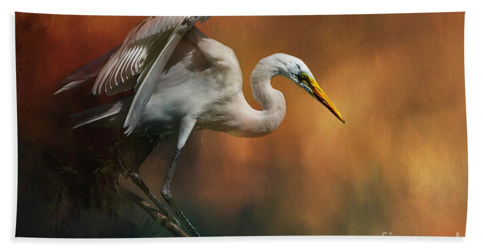 Bird Hand Towel featuring the mixed media Elegance by Marvin Spates