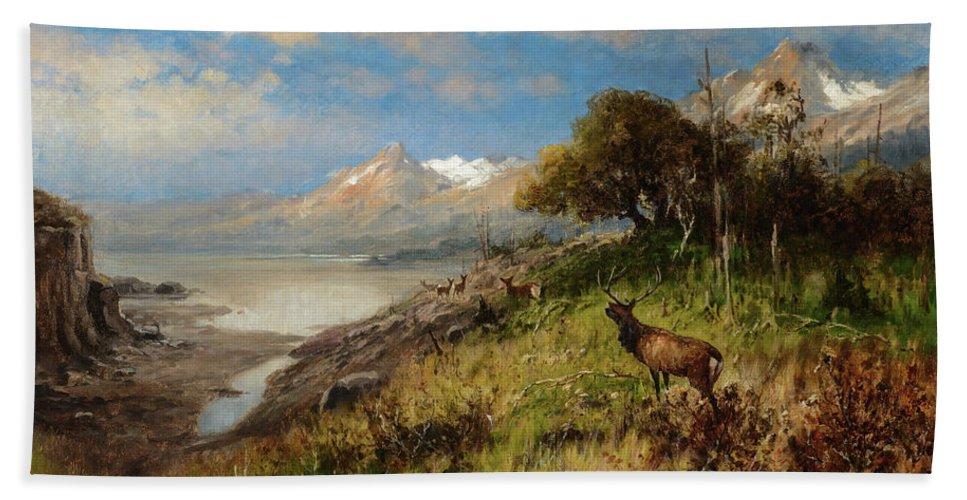 John Fery Bath Towel featuring the painting Elk Herd by John Fery