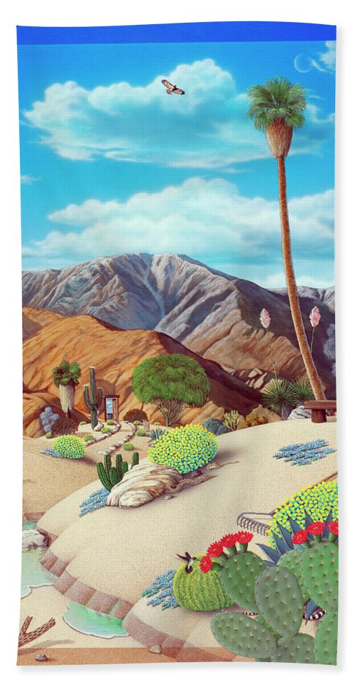 Desert Bath Sheet featuring the painting Enchanted Desert by Snake Jagger