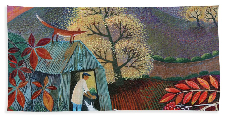 End Of The Day Hand Towel featuring the painting End Of The Day by Lisa Graa Jensen