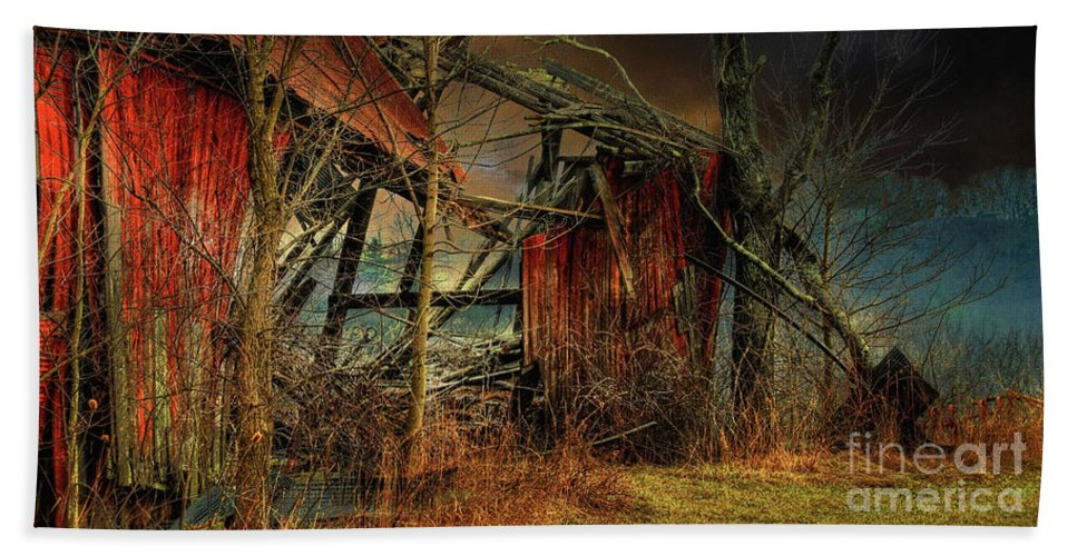 Barn Hand Towel featuring the photograph End Times by Lois Bryan