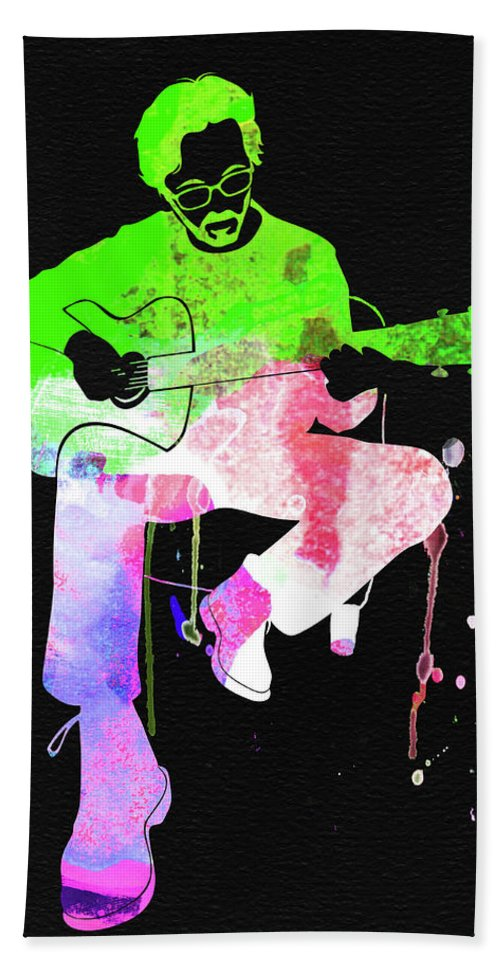 Eric Clapton Stone Hand Towel featuring the mixed media Eric Clapton Stone Watercolor by Naxart Studio