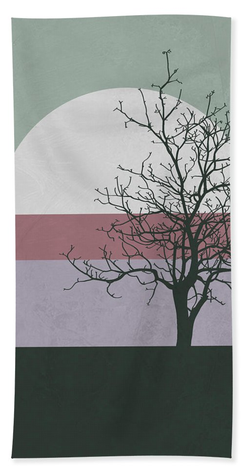 Tree Hand Towel featuring the mixed media Evening Tree by Naxart Studio