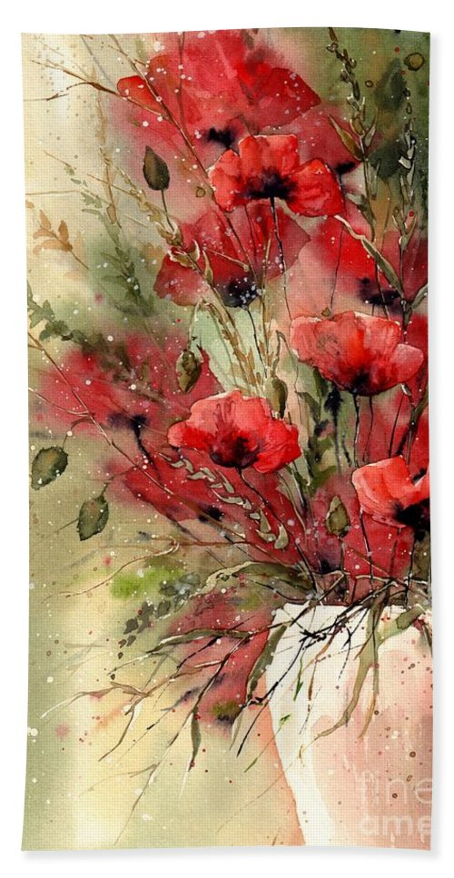 Red Bath Towel featuring the painting Everything About Poppies I by Suzann Sines