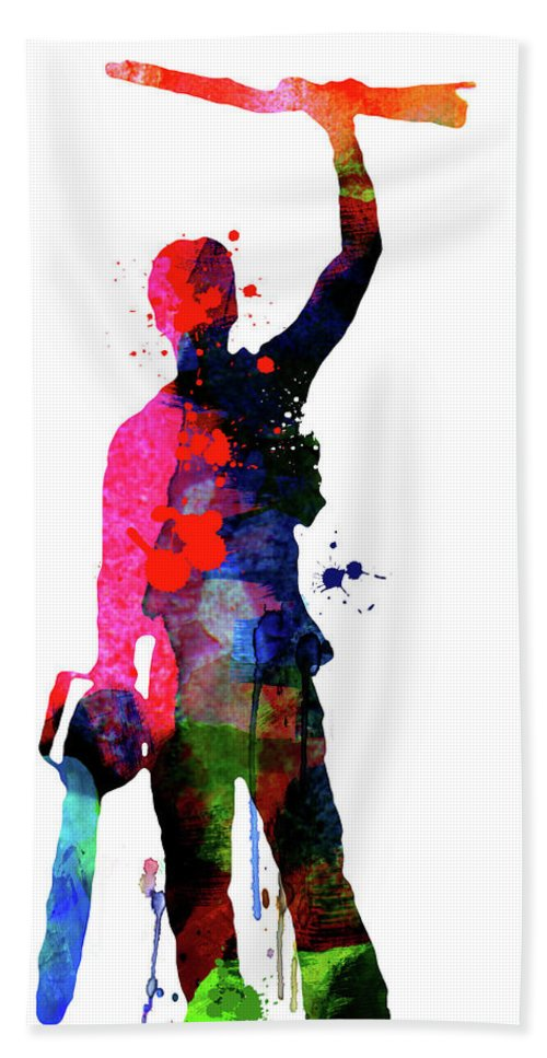 Movies Bath Towel featuring the mixed media Evil Dead Watercolor by Naxart Studio