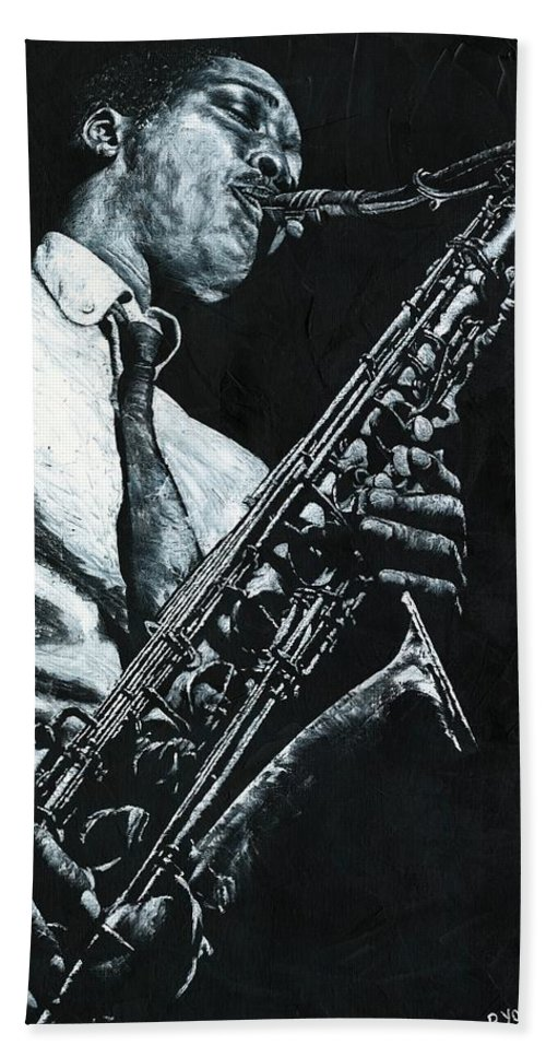 Sax Bath Sheet featuring the painting Expressive Sax by Richard Young