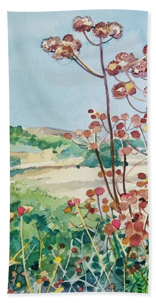 Malibou Lake Bath Towel featuring the painting Calabasas Seedheads by Luisa Millicent