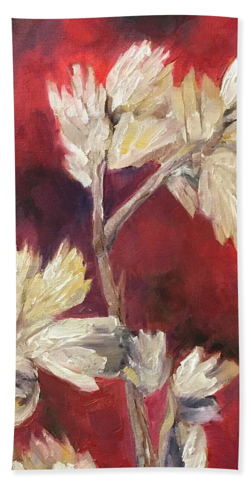Fall Flowers Bath Towel featuring the painting Fall Flowers by Vonda Drees