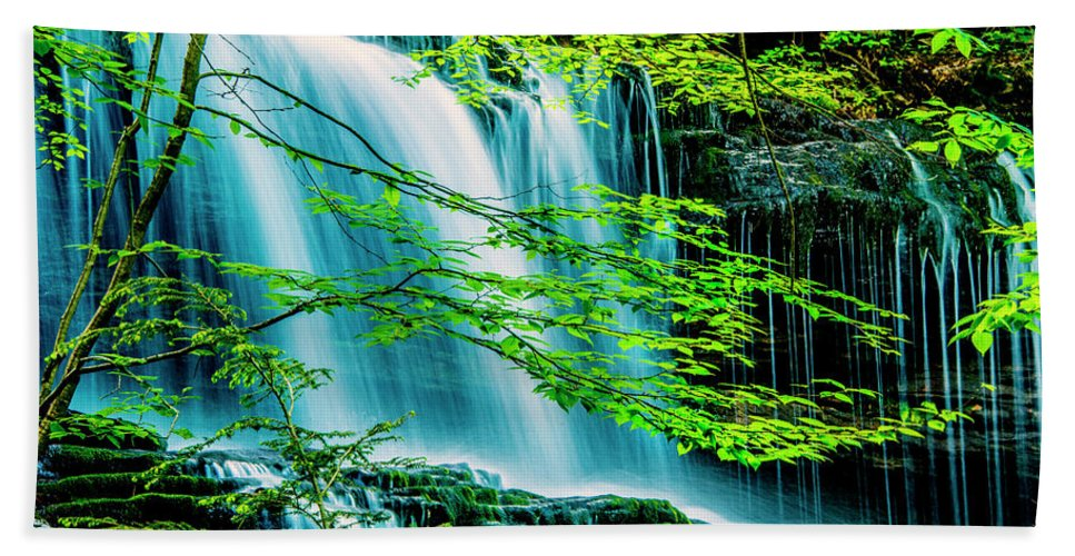 D1-l-2971-d Hand Towel featuring the photograph Falls Behind Spring Trees by Paul W Faust - Impressions of Light