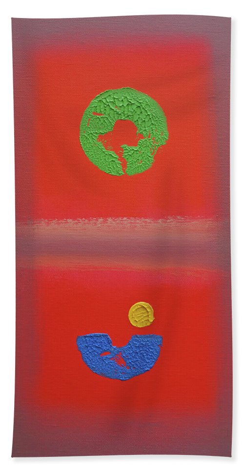Red Bath Towel featuring the painting Fauve Pacific by Charles Stuart