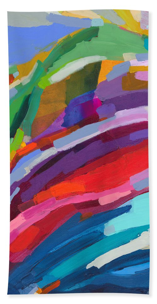 Abstract Hand Towel featuring the painting Felicity by Claire Desjardins