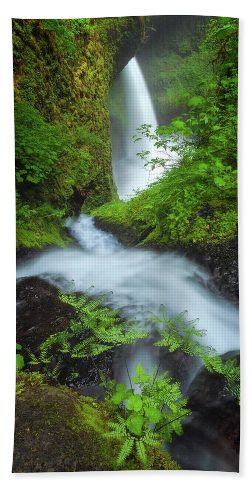 Oregon Hand Towel featuring the photograph Fern Falls by Darren White