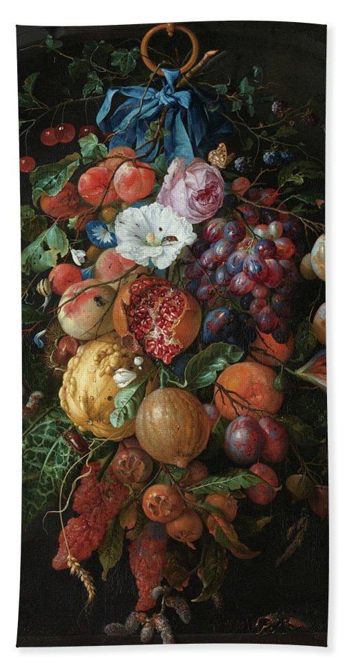 Jan Davidsz De Heem Bath Towel featuring the painting Festoon Of Fruit And Flowers, 1670 by Jan Davidsz de Heem