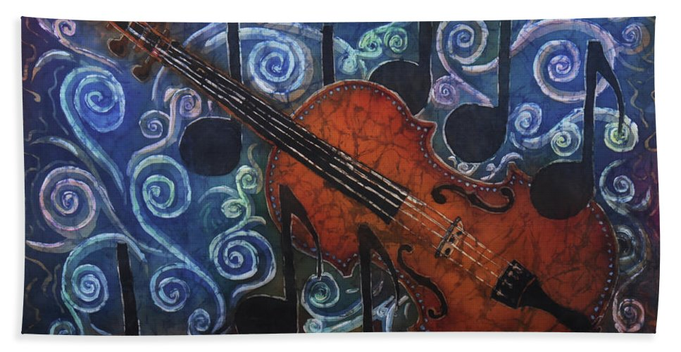 Fiddle Hand Towel featuring the painting Fiddle 1 by Sue Duda
