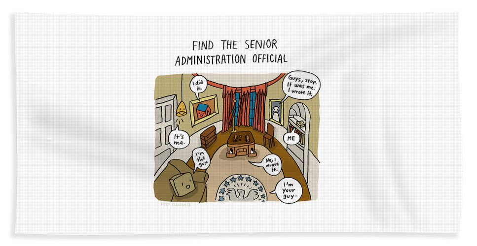 Find The Senior Administration Official Bath Sheet featuring the drawing Find The Senior Administration Official by Lizzy Itzkowitz