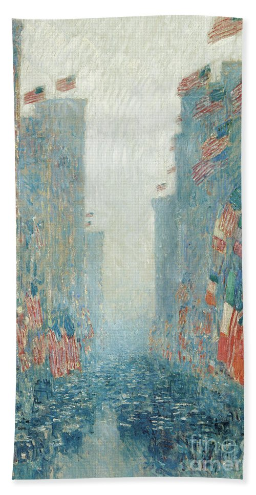 Hassam Bath Towel featuring the painting Flags, Afternoon On The Avenue, 1917 by Childe Hassam