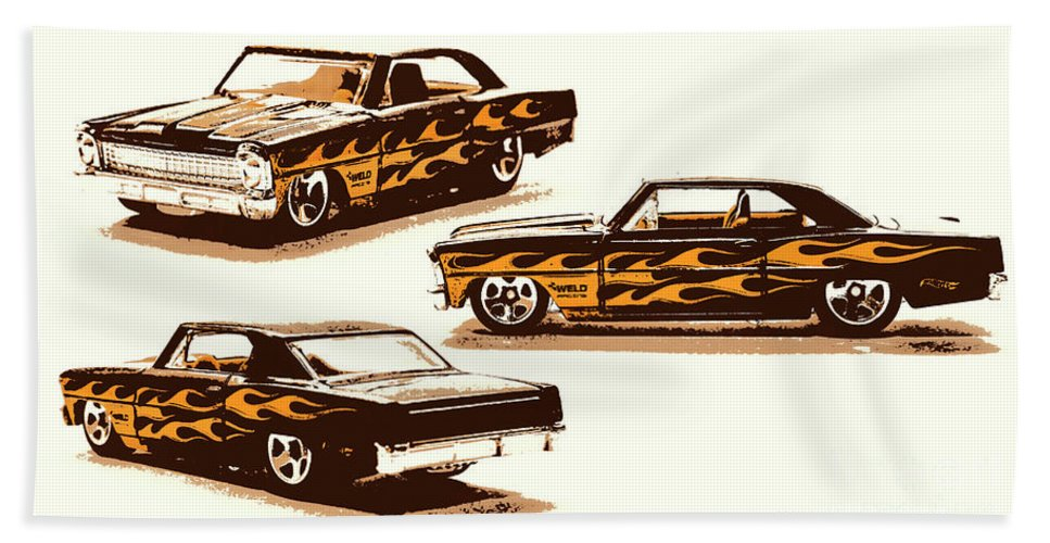 Chevy Hand Towel featuring the photograph Flamin Chevrolet 66 Nova by Jorgo Photography - Wall Art Gallery