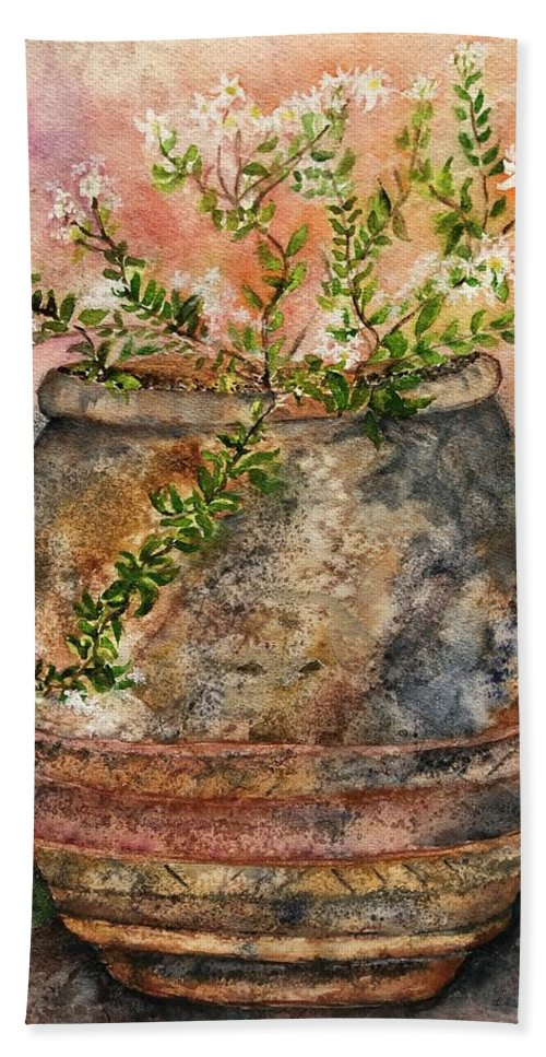 Tuscany Hand Towel featuring the painting Flowers For Kallie by Kathy Sievering
