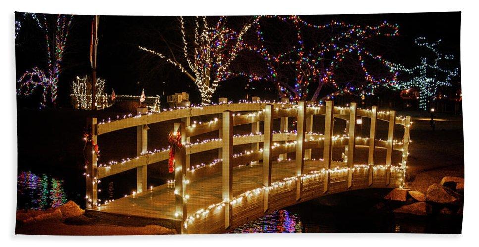 Footbridge Bath Towel featuring the photograph Footbridge In Christmas Lights by Trevor Slauenwhite