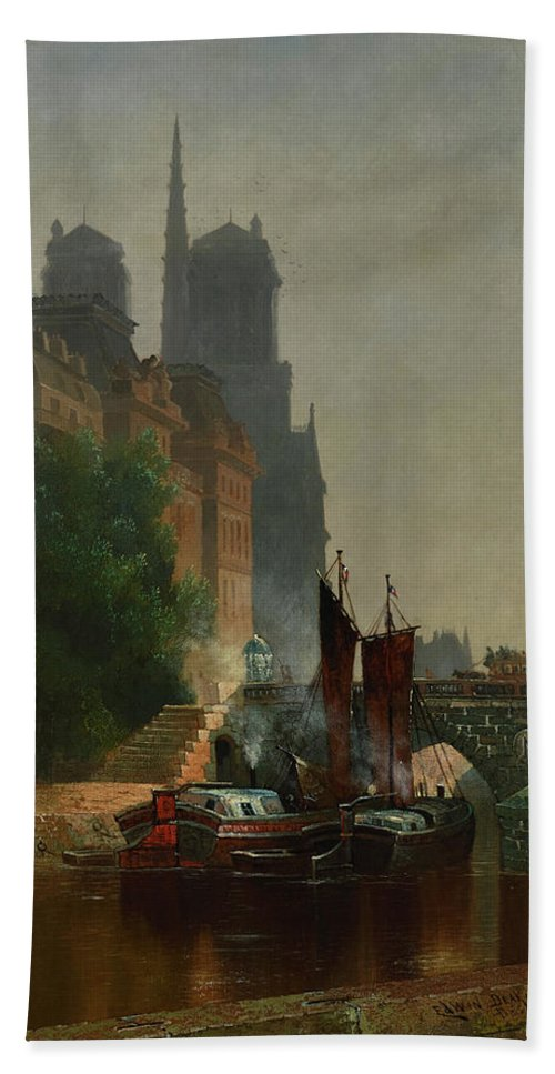 Edwin Deakin Hand Towel featuring the painting For Notre Dame, Foggy Morning by Edwin Deakin