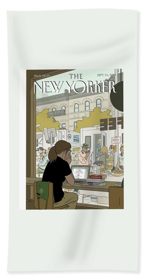 Fourth Wall Bath Sheet featuring the drawing Fourth Wall by Adrian Tomine