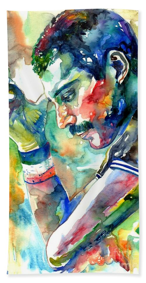 Freddie Mercury Bath Towel featuring the painting Freddie Mercury With Cigarette by Suzann Sines