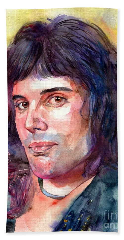 Freddie Mercury Bath Towel featuring the painting Freddie Mercury young by Suzann Sines