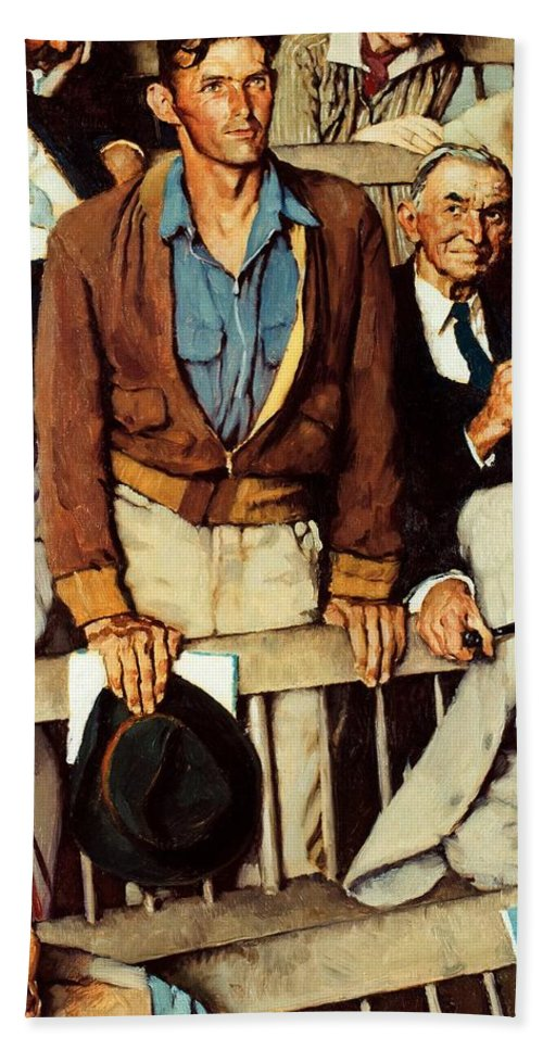 Man Standing Bath Towel featuring the drawing Freedom Of Speech by Norman Rockwell