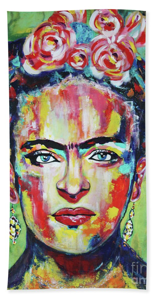 Frida Kahlo Pink Flowers Bath Towel For Sale By Kathleen Artist Pro