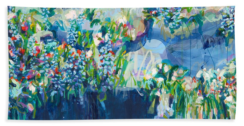 Abstract Hand Towel featuring the painting Full Bloom by Claire Desjardins
