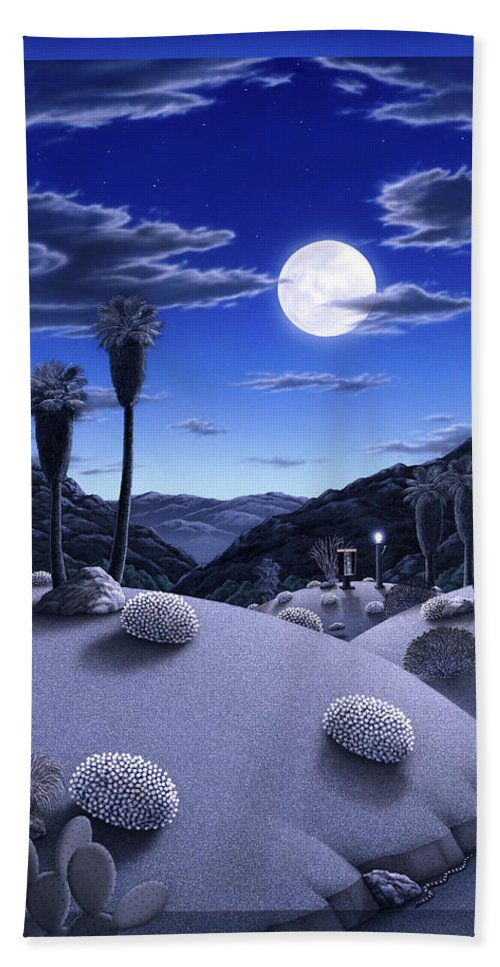 Desert Bath Sheet featuring the painting Full Moon Rising by Snake Jagger