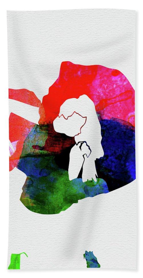 Lady Gaga Hand Towel featuring the mixed media Gaga Watercolor by Naxart Studio