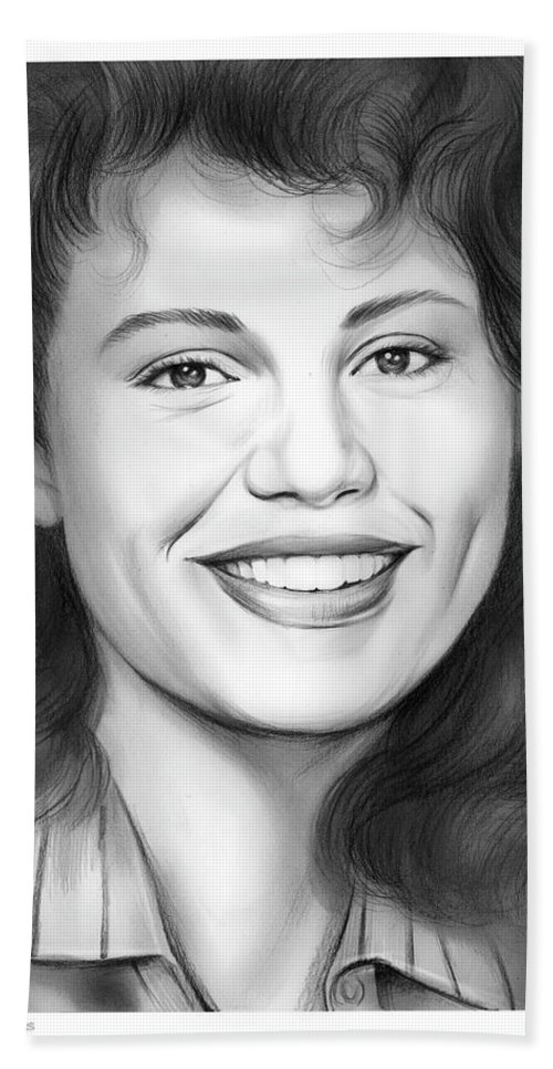 Geena Davis Bath Towel featuring the drawing Geena Davis by Greg Joens