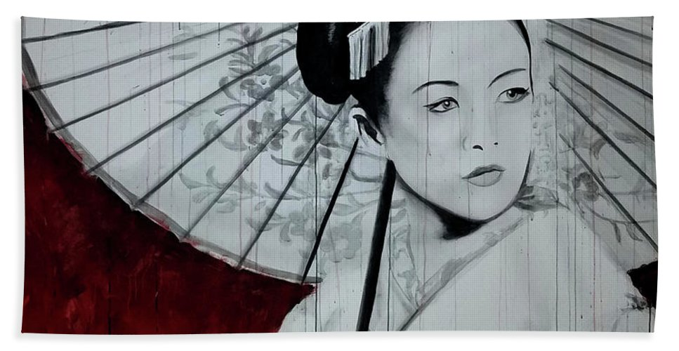 Geisha Bath Towel featuring the painting Geisha by Scott Robinson