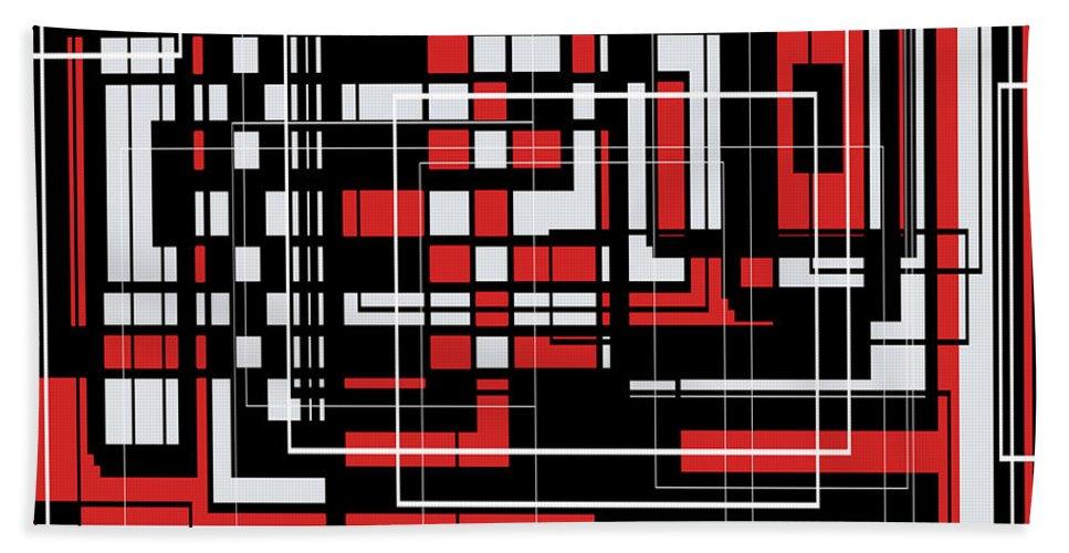 Abstract Bath Sheet featuring the digital art Geometric Stylization 2 by Candice Danielle Hughes
