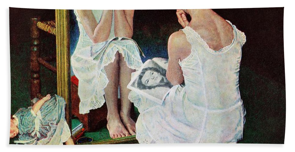 Actresses Bath Towel featuring the drawing Girl At The Mirror by Norman Rockwell
