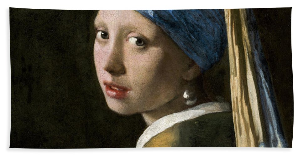 Johannes Vermeer Hand Towel featuring the painting Girl With A Pearl Earring, 1665 by Johannes Vermeer